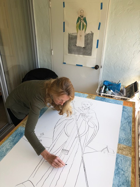 Saint Patrick icon by Iconographer Christine Hales in progress