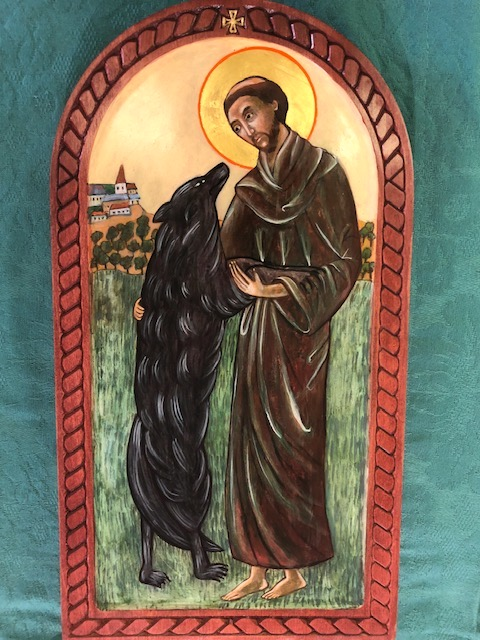 Saint Francis and the Wolf of Lubbio, Icon by Christine Hales