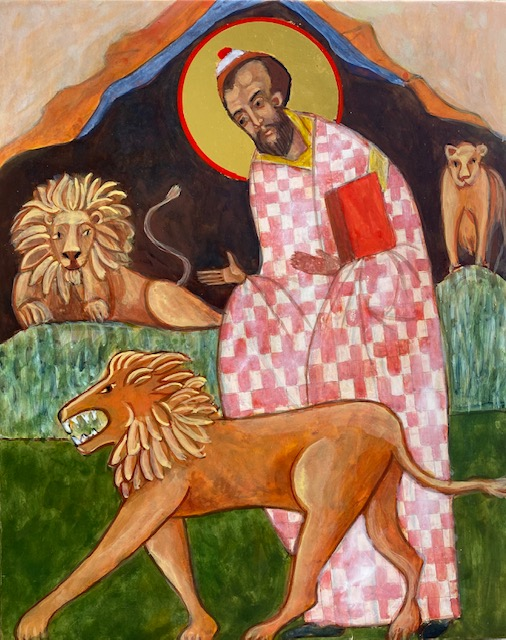 Daniel in the Lion's Den Icon by Christine Hales
